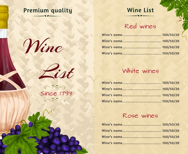 Menu sur le vin