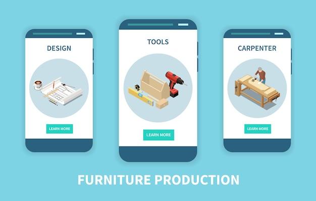 Menuiserie meubles sur mesure info en ligne 3 écrans de smartphone isométriques avec outils de production de menuiserie