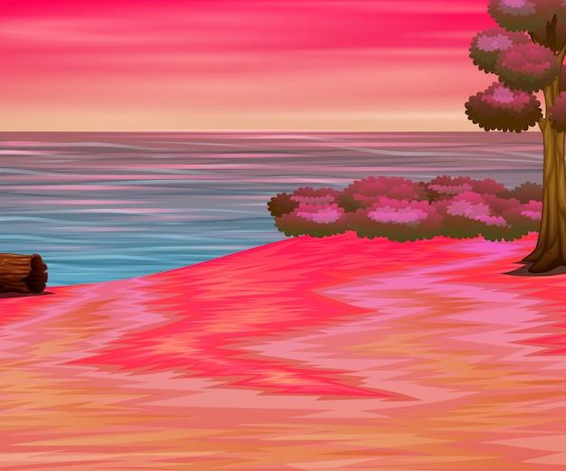 Mer avec beau ciel rose