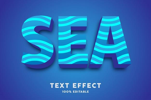 Mer bleue 3d avec effet de texte de vague