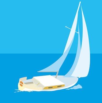 Mer bleue avec des yachts. illustration de plat de vecteur.