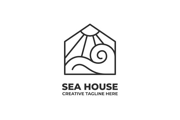 Mer maison nature océan monoline logo