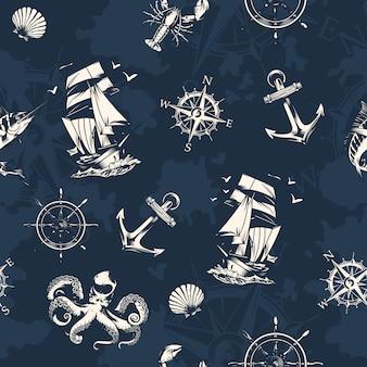 Mer et modèle sans couture nautique vintage