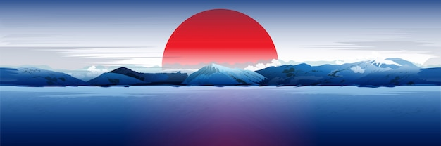 Mer, montagnes et soleil rouge.