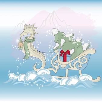 Mer de noël cheval nouvel an couleur vector illustration