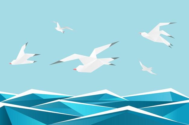 Mer de papier avec des oiseaux. mouettes en origami au-dessus de fond de vagues. illustration de la liberté de papier origami mouette