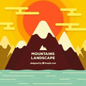 Mer et paysage de montagne fond
