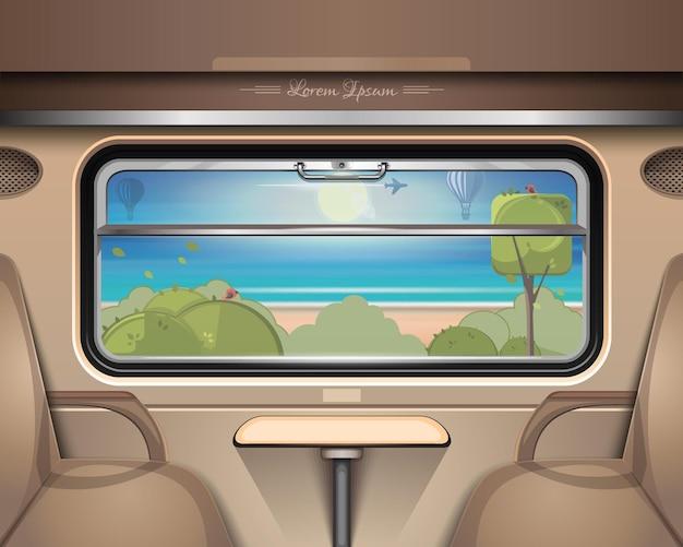 Mer, plage et espaces verts devant la fenêtre du train. voyagez en train en été. illustration vectorielle