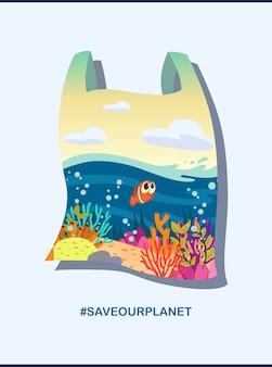 Mer, poisson, corail dans un sac en plastique