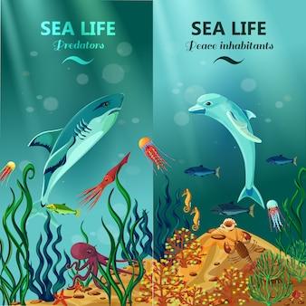 Mer, vie sous-marine, arrière-plans verticaux