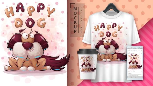 Merchandising et affiche de chien de dessin animé