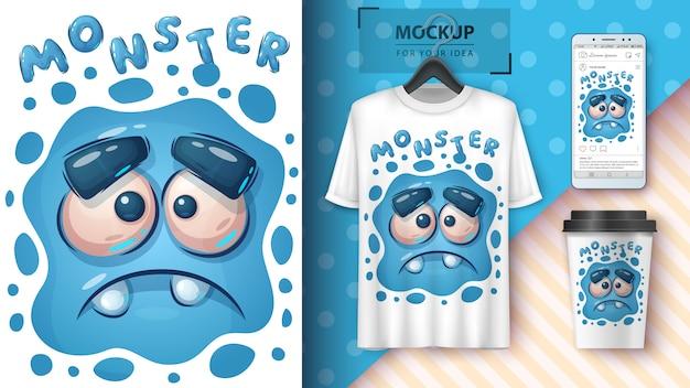 Merchandising et affiche de monstre triste mignon