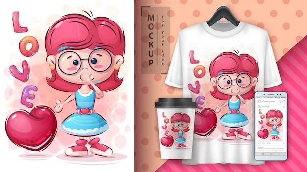 Merchandising et illustration coeur fille