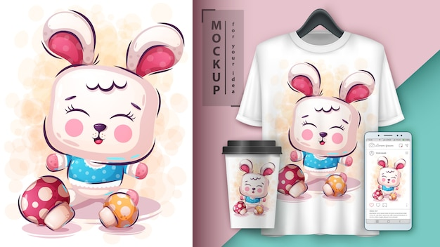 Merchandising et illustration de lapin mignon