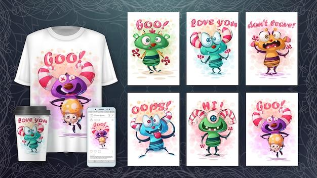 Merchandising et illustration de monstres mignons