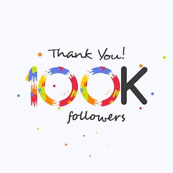 Merci 100k abonnés pour les médias sociaux