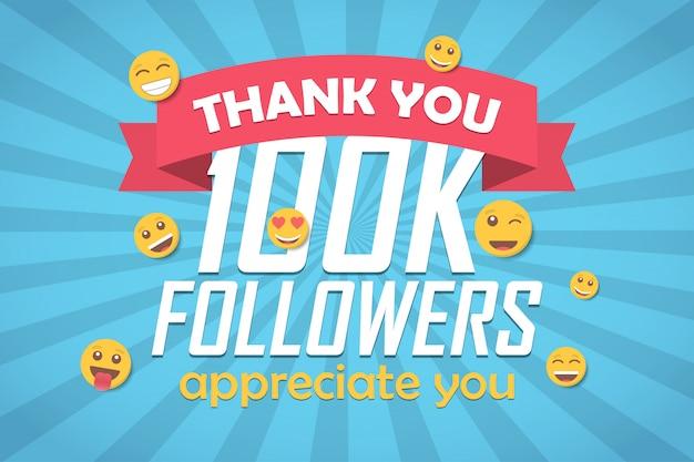 Merci 100k adeptes félicitations fond avec émoticône.