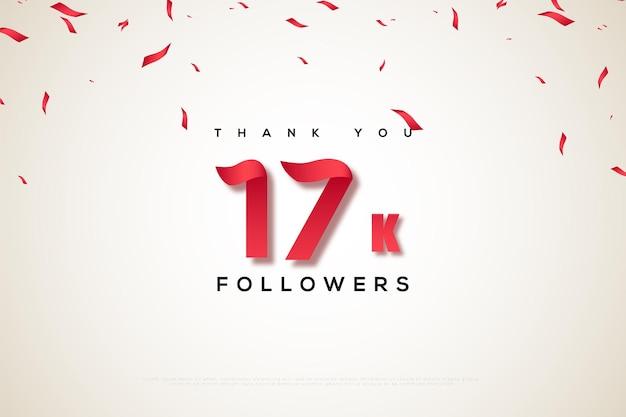 Merci 17k followers sur fond blanc avec une pluie de confettis
