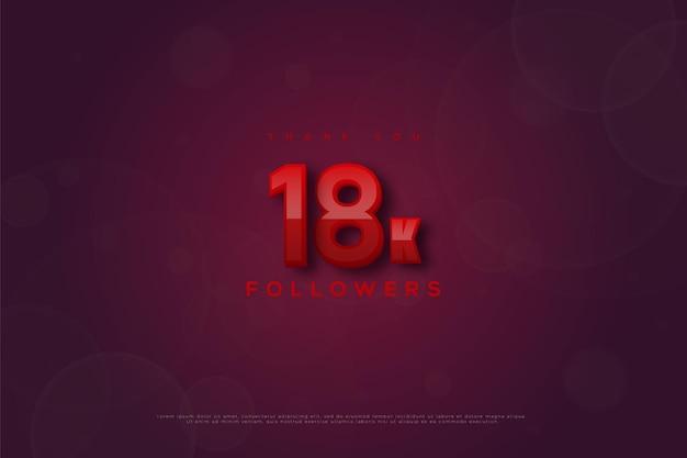 Merci 18 000 abonnés avec des chiffres dans une combinaison de deux couleurs rouge et rouge foncé