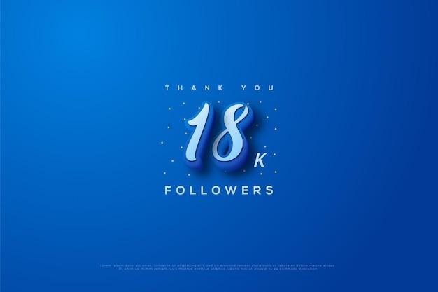 Merci 18 000 abonnés avec des numéros de traits bleus et bleus