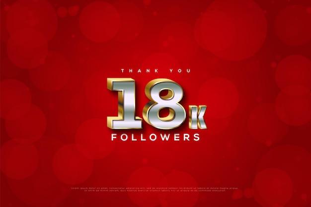 Merci 18k abonnés avec bulle rouge avec effet de flou