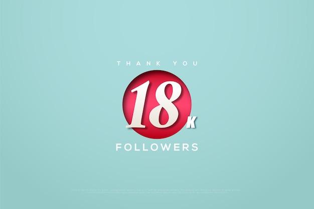 Merci 18k abonnés avec un cercle rouge au milieu du nombre