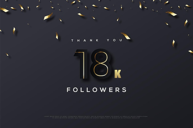 Merci 18k abonnés avec le croquis du numéro au milieu du numéro d'origine