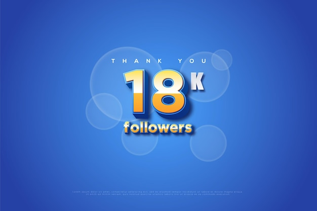 Merci 18k abonnés avec du bleu et des bulles avec effet de flou
