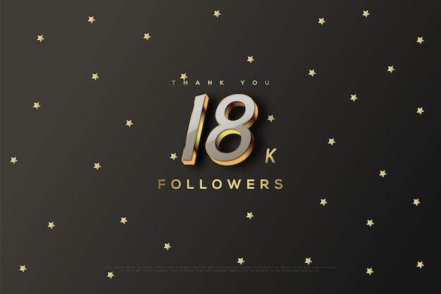 Merci 18k abonnés avec des étoiles d'or