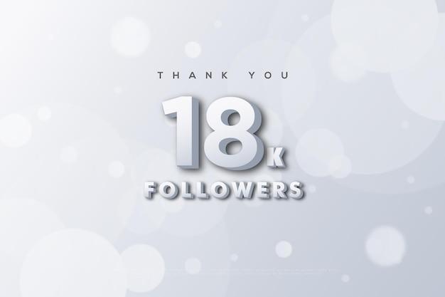 Merci 18k abonnés sur un nombre blanc et blanc brillant