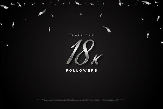 Merci 18k abonnés avec pluie de ruban noir et noir et blanc