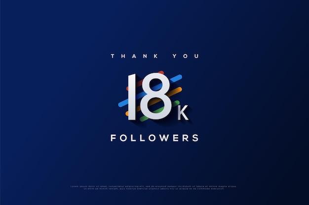Merci 18k abonnés avec plusieurs formes ovales longues avec différentes couleurs