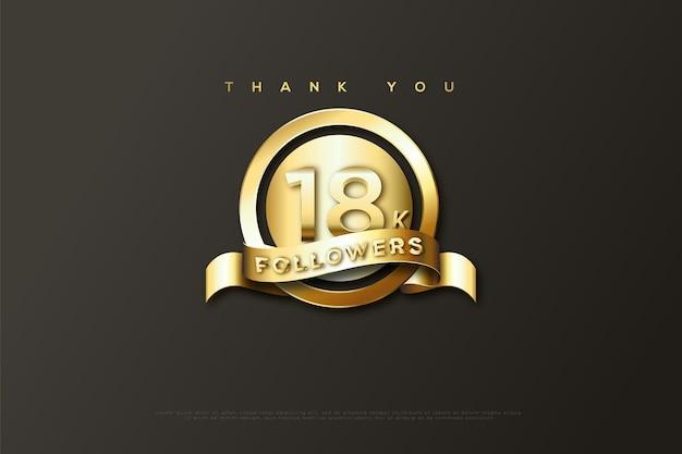 Merci 18k abonnés avec un ruban d'or sur les messages d'abonnés