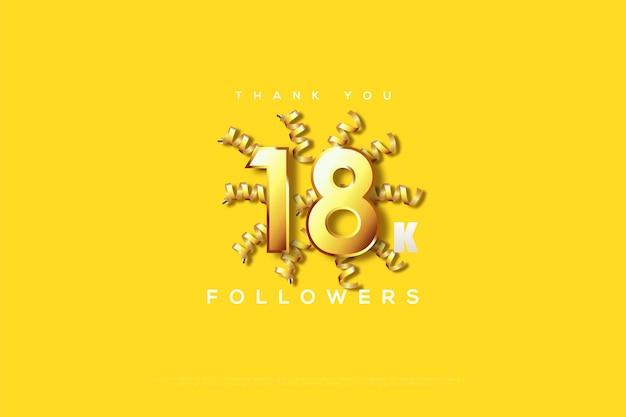 Merci 18k abonnés avec des rubans jaunes