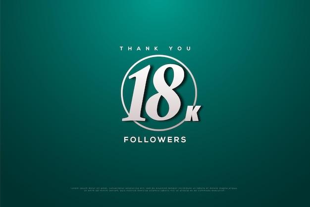 Merci 18k abonnés sur vert avec cercle blanc