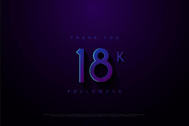 Merci 18k followers sur un bleu avec un effet lumineux au dessus du centre