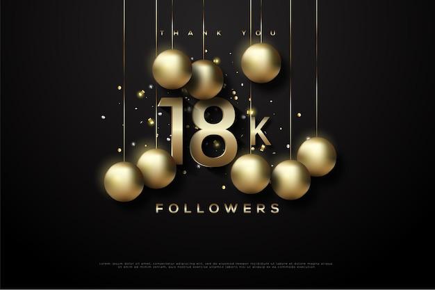 Merci 18k followers avec boule d'or suspendue