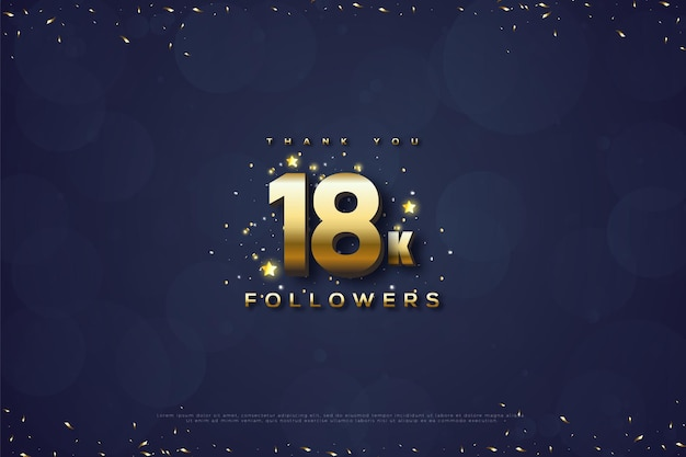 Merci 18k followers avec bulle bleue et nombres d'or