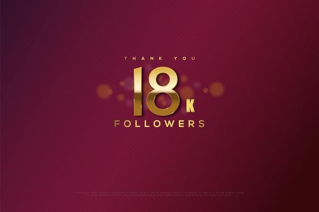 Merci 18k followers avec une bulle avec un effet flou au milieu des chiffres
