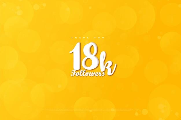 Merci 18k followers avec des bulles jaunes et transparentes