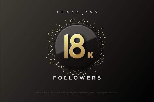 Merci 18k followers avec cercle bicolore et paillettes dorées