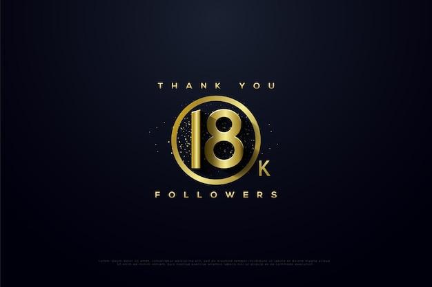 Merci 18k followers avec cercle d'or et paillettes d'or