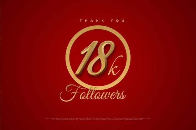Merci 18k followers sur cercle rouge et or