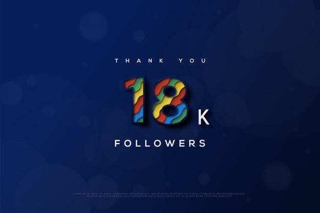 Merci 18k followers avec des couleurs qui sont combinées avec plus de deux couleurs