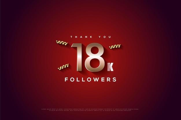 Merci 18k followers sur fond rouge avec effet lumineux et trois rubans dorés