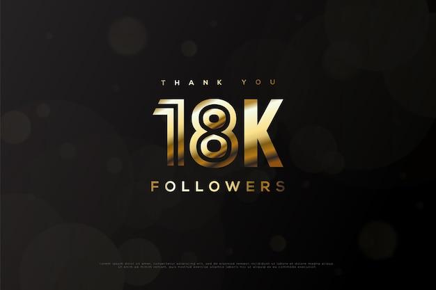Merci 18k followers avec nombres d'or et bulles transparentes