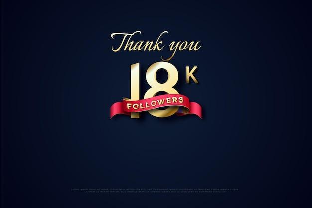 Merci 18k followers avec des nombres d'or dans une position verticale parallèle