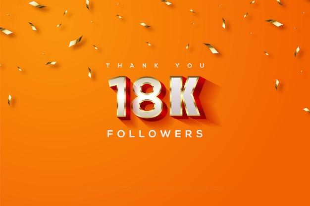 Merci 18k followers sur une orange et des rubans d'or pluvieux
