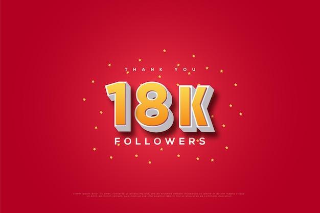 Merci 18k followers sur des paillettes roses et jaunes