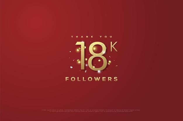 Merci 18k followers sur un rouge foncé avec des paillettes d'or